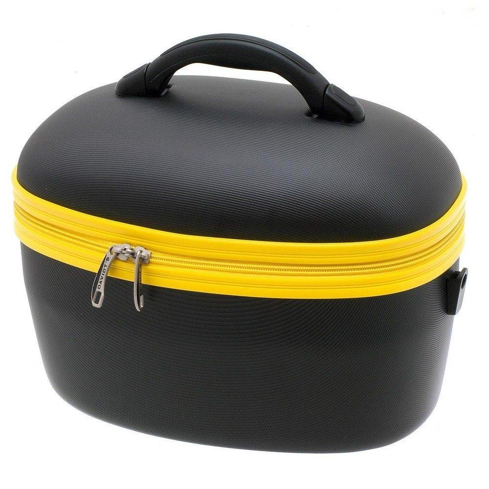 vanity case noir jaune en plastique davidt 39 s trousse de toilette citasac. Black Bedroom Furniture Sets. Home Design Ideas